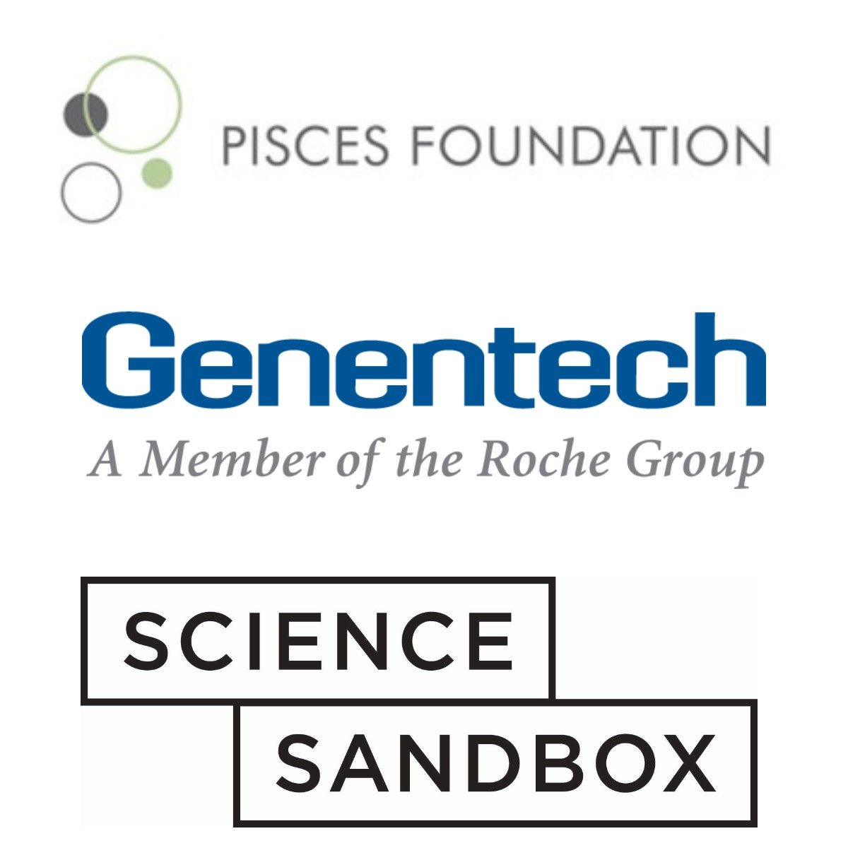 Pisces Foundation, Genentech, Science Sandbox logos