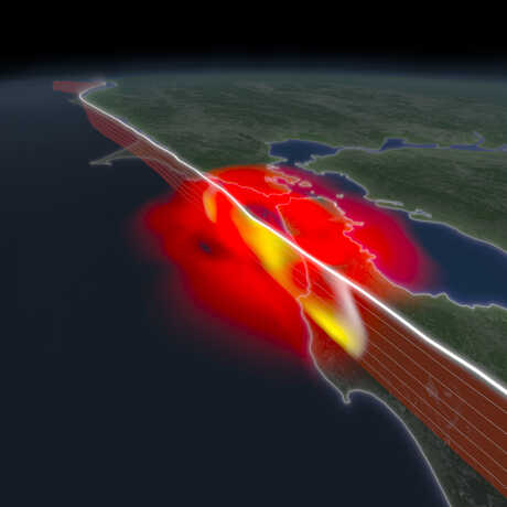 A digital rendering of a mega-earthquake striking the Bay Area