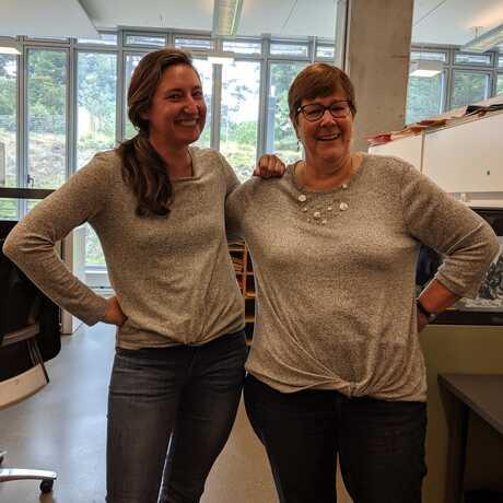 Deb and Lindsay wearing matching shirts
