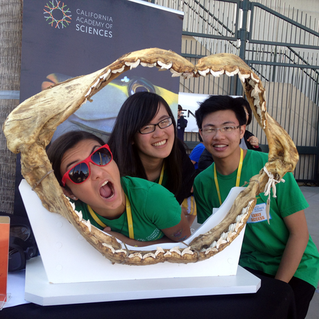 TASC teens goof off with a giant shark jaw