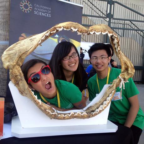 TASC teens goof off with a giant shark jaw