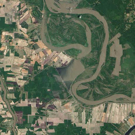 Mississippi River Morganza Spillway satellite image