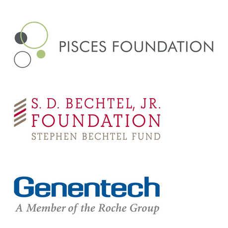 Pisces Foundation, S.D Bechtel, Jr. Foundation, and Genentech logos