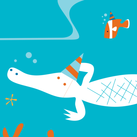 Playful illustration of Claude, our albino alligator, in a party hat