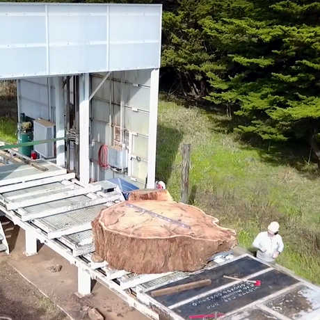 Aerial shot of the redwood round getting prepped for transport