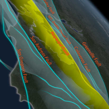 Bay Area Fault Planes Labeled