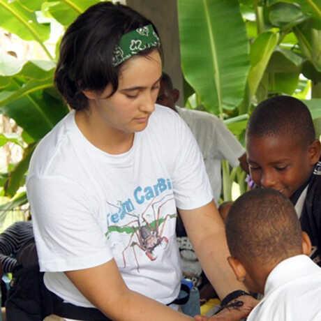 Lauren Esposito introducing entomology to local kids