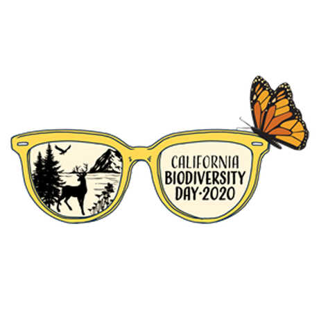 California Biodiversity Day 2020 logo with sunglasses and butterfly illustration
