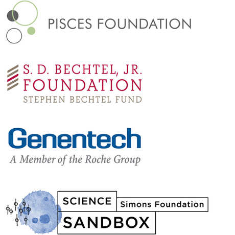 Pisces Foundation, S.D Bechtel, Jr. Foundation, Simons Foundation, and Genentech logos