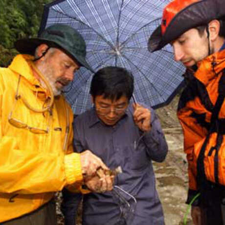 Entomologists Dave Kavanaugh, Liang Hongbin, and graduate student Paul Marek. Photo Dong Lin.