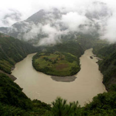 The Salween River begins in the eastern highlands of the Tibetan Plateau and eventually enters the Andaman Sea in eastern Myanma