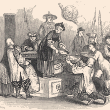 """Giving Out Corn to the People, During a Season of Scarcity."""": Chinese officials engaged in famine relief. Detail of engraving by"""