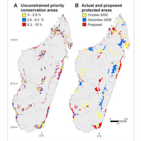 Map of protected and unprotected conservation areas in Madagascar