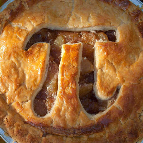"A pie with the ""pi"" symbol cut out of the crust"