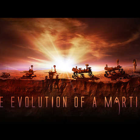 """""""Evolution of a Martian,"""" from robotic rover to human explorer."""