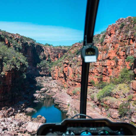 The team dropped into remote Kimberley gorges by helicopter, Matthew Le Feuvre and James Shelley