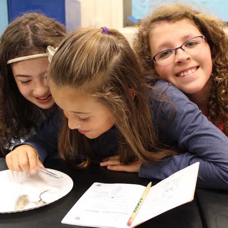 Science Action Club participants in Montana conduct an experiment with feathers.