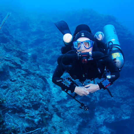 Bart Shepherd diving in the Philippines