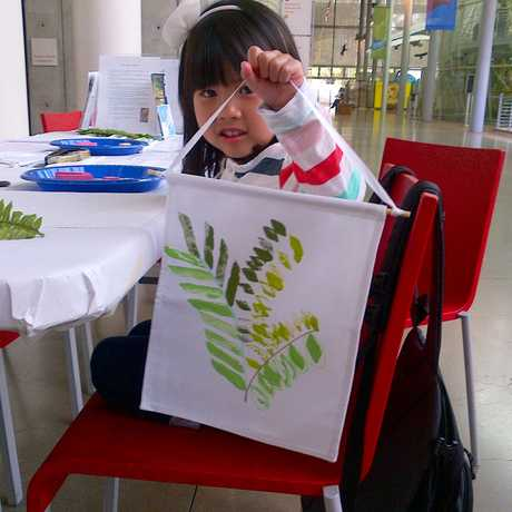 Kids create nature-inspired crafts.