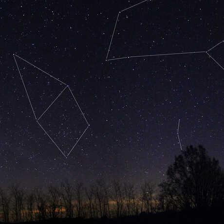 Constellation stick figures