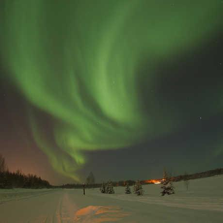 Green Aurora borealis in snowy landscape
