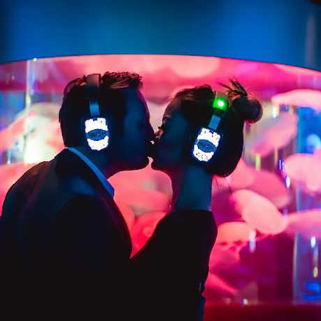 Couple kissing in the aquarium silent disco at Party After Dark