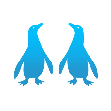 Illustration of two blue penguins