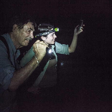 Bob Drewes and Rayna Bell on a night expedition in São Tomé