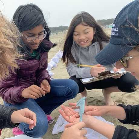 TASC MS youth measure a Pacific Mole Crab