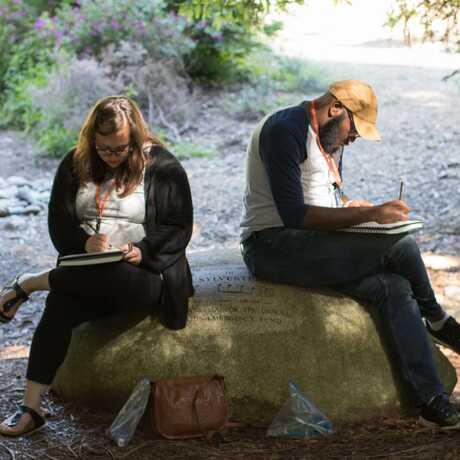 Teachers sketching together