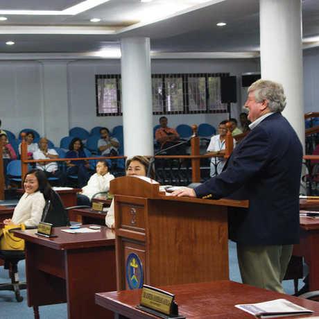 Terry Gosliner speaking at Batangas provincial legislature