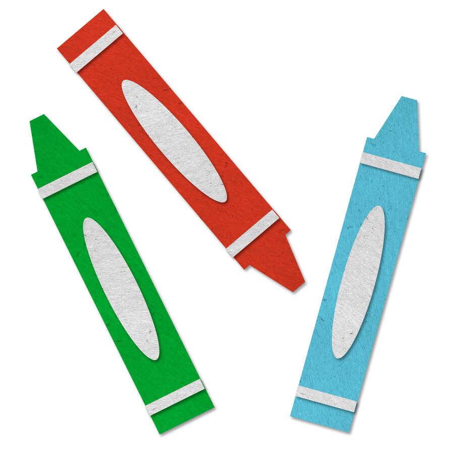 Felt icon of 3 crayons