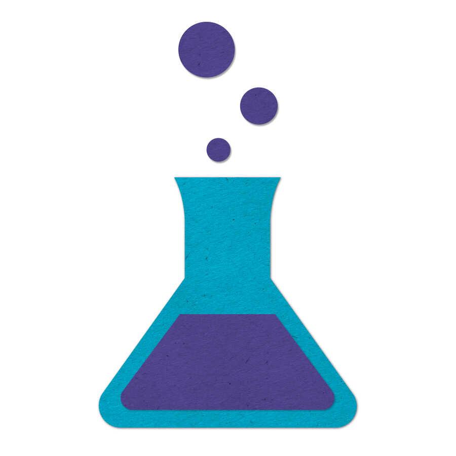 Blue felt chemistry beaker icon