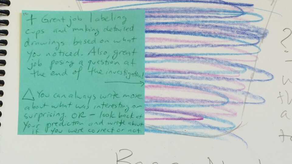 Teacher feedback in notebook