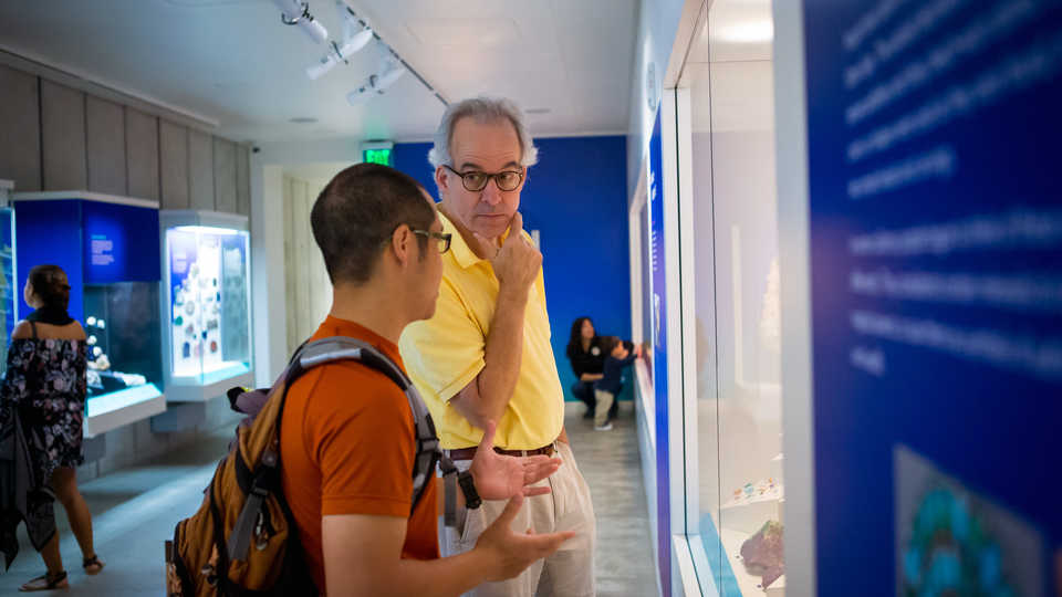 Two guests discuss a display in the Gems and Minerals Unearthed exhibit