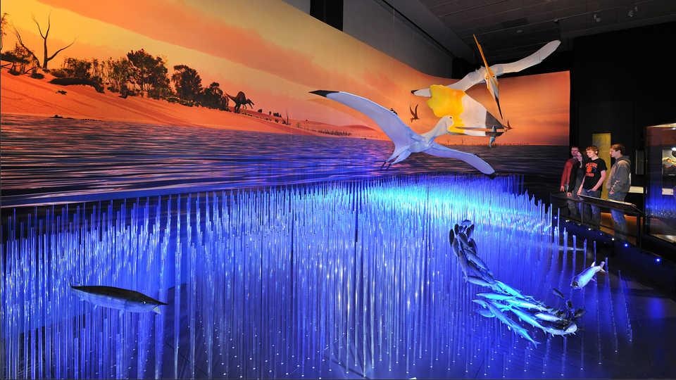 Cretaceous diorama inside the Pterosaurs exhibit