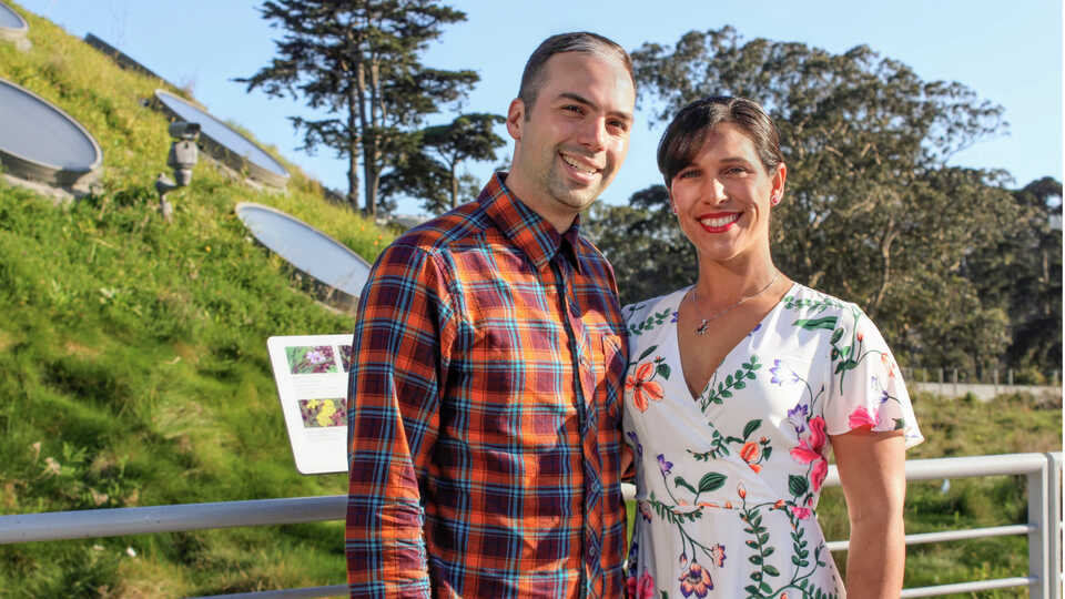 Academy donors Domenic and Lauren Narducci on the Living Roof