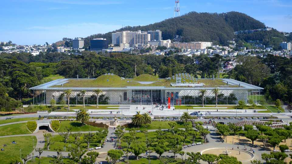 Aerial view of the California Academy of Sciences