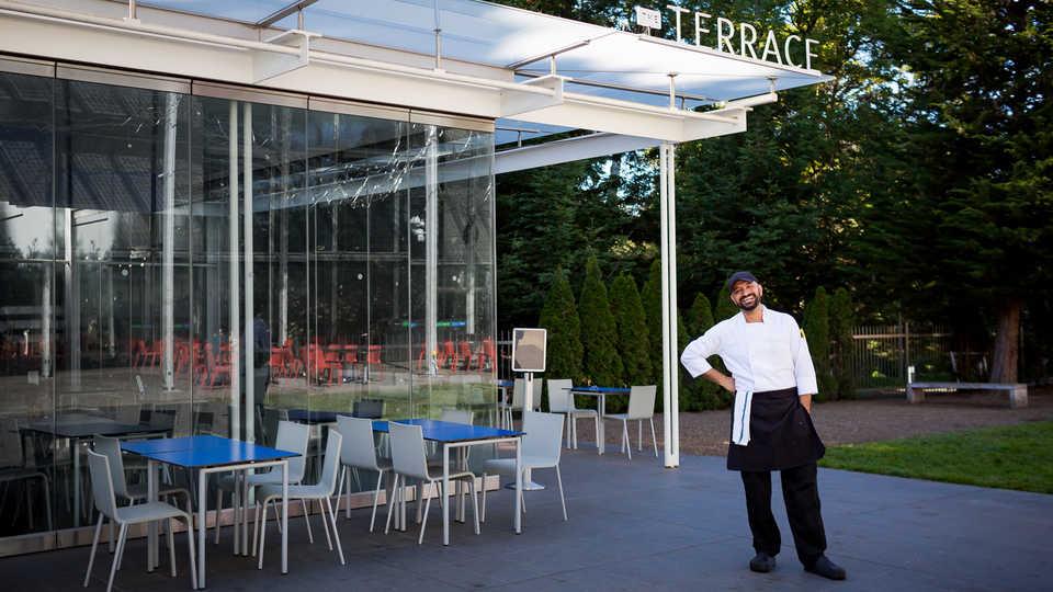 Chef Ghazwan Alsharif outside the Academy's Terrace Restaurant