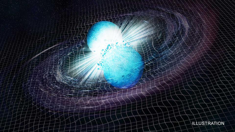 Artists Illustration of two neutron stars colliding