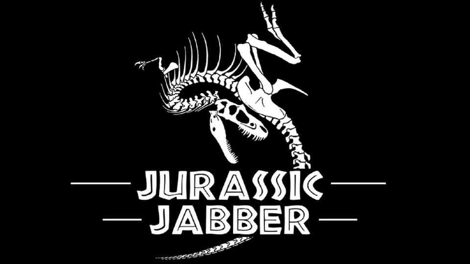 Jurassic Jabber logo with dinosaur skeleton in the background